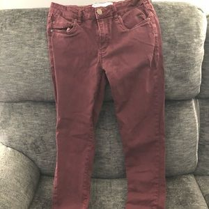 Maroon colored jeans
